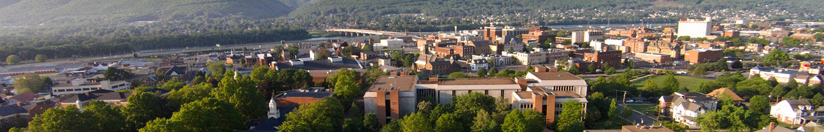 Aerial view of campus with Williamsport, the Susquehanna River and Bald Eagle Mountain as a backdrop